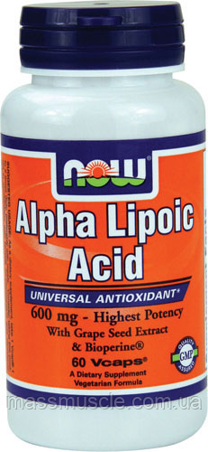 Улучшение метаболизма NOW Foods Alpha Lipoic Acid 600mg 60 caps