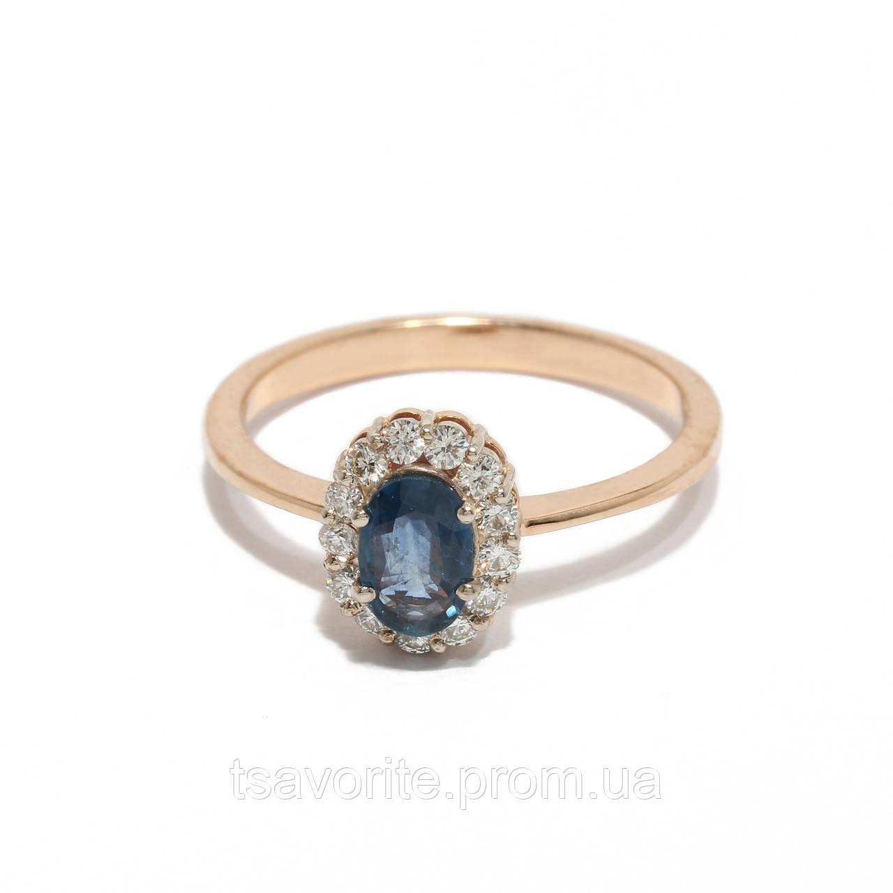Золотое кольцо с сапфиром и бриллиантами 2231494
