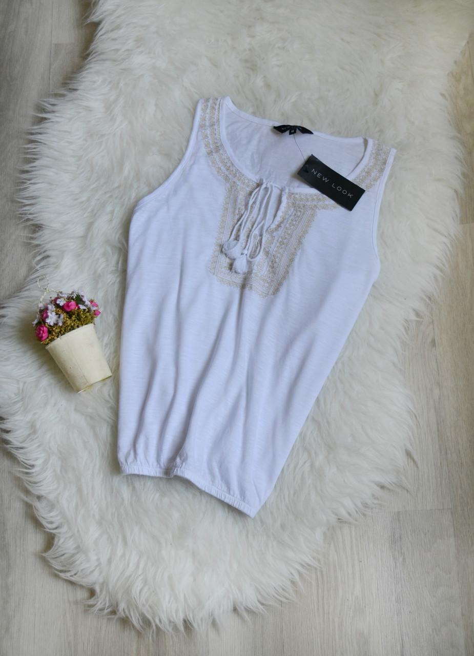 Новый белый топ с вышивкой и завязками New Look