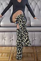"""Высокие флисовые тапочки сапожки """"Леопард"""". Домашняя обувь из флиса для всей семьи, любой размер по меркам!"""