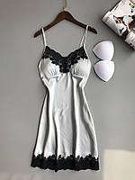 Пижама SilkTouch ночная рубашка XL серая с черным кружевом (1206)