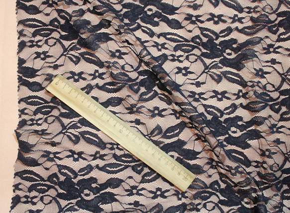 Ткань гипюр стрейчевый цветы темно-синий, фото 2