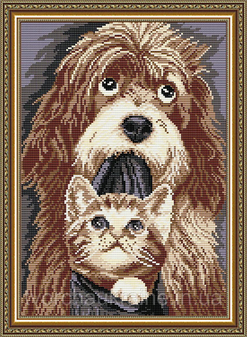 AT3019 Набор для выкладки алмазной техникой «Собака с котенком»