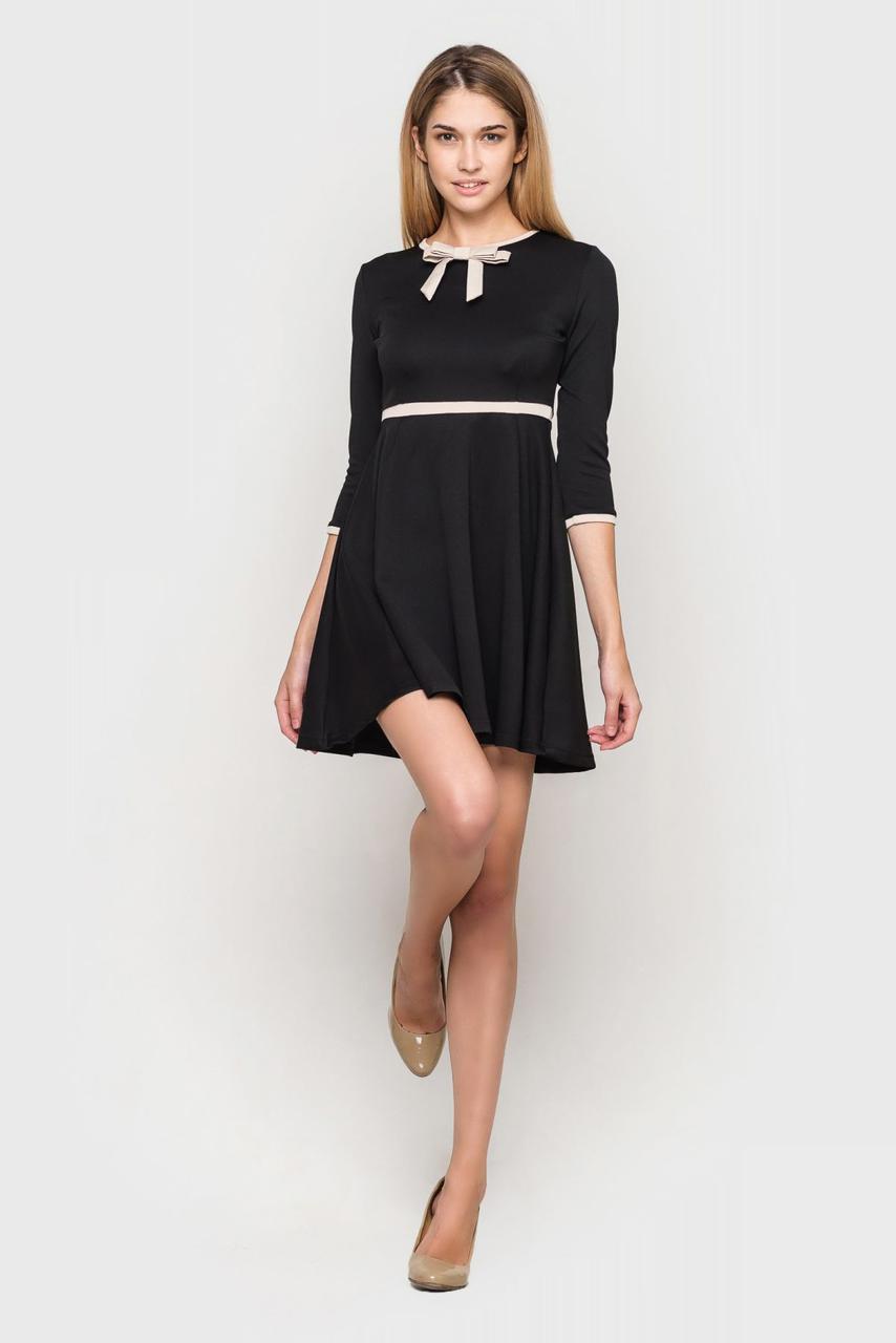 eb60507c653 Нарядное Офисное Короткое Платье Сальма (черное) — в Категории