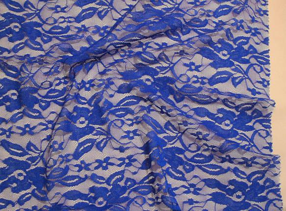 Ткань гипюр стрейчевый цветы электрик, фото 2