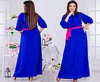 1839eb9d47d Удлиненное платье прямого силуэта с контрастным поясом батал