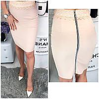 Женское модная юбка-карандаш с кружевом и молнией сзади, фото 1