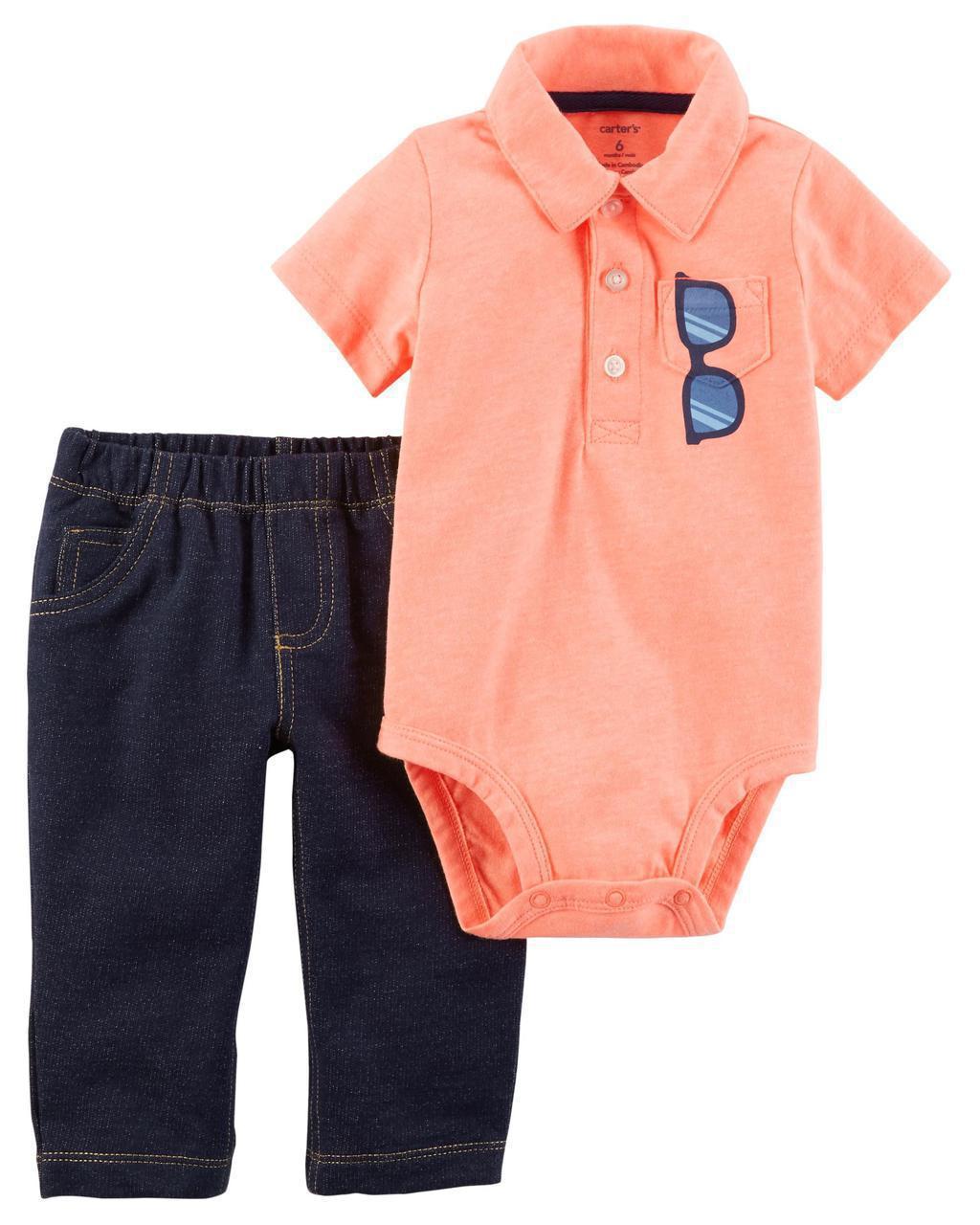 Штаны + Боди-поло Carters на новорожденного мальчика до 55 см. Комплект двойка