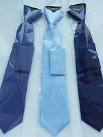 Галстук детский на резинке Dunpillo с платком в карман 6-8 лет голубой