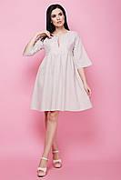 Модное женское льняное летнее платье с рукавами клеш 7035, фото 1