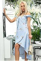 Летнее асимметричное платье голубого цвета с цветочным рисунком. Модель 18026. Размеры 42-46