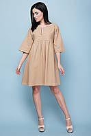 Модное женское льняное летнее платье с рукавами клеш 7035/2, фото 1
