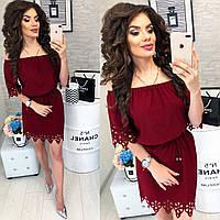 Платье с выбитым рисунком , модель 105, цвет Бордовый