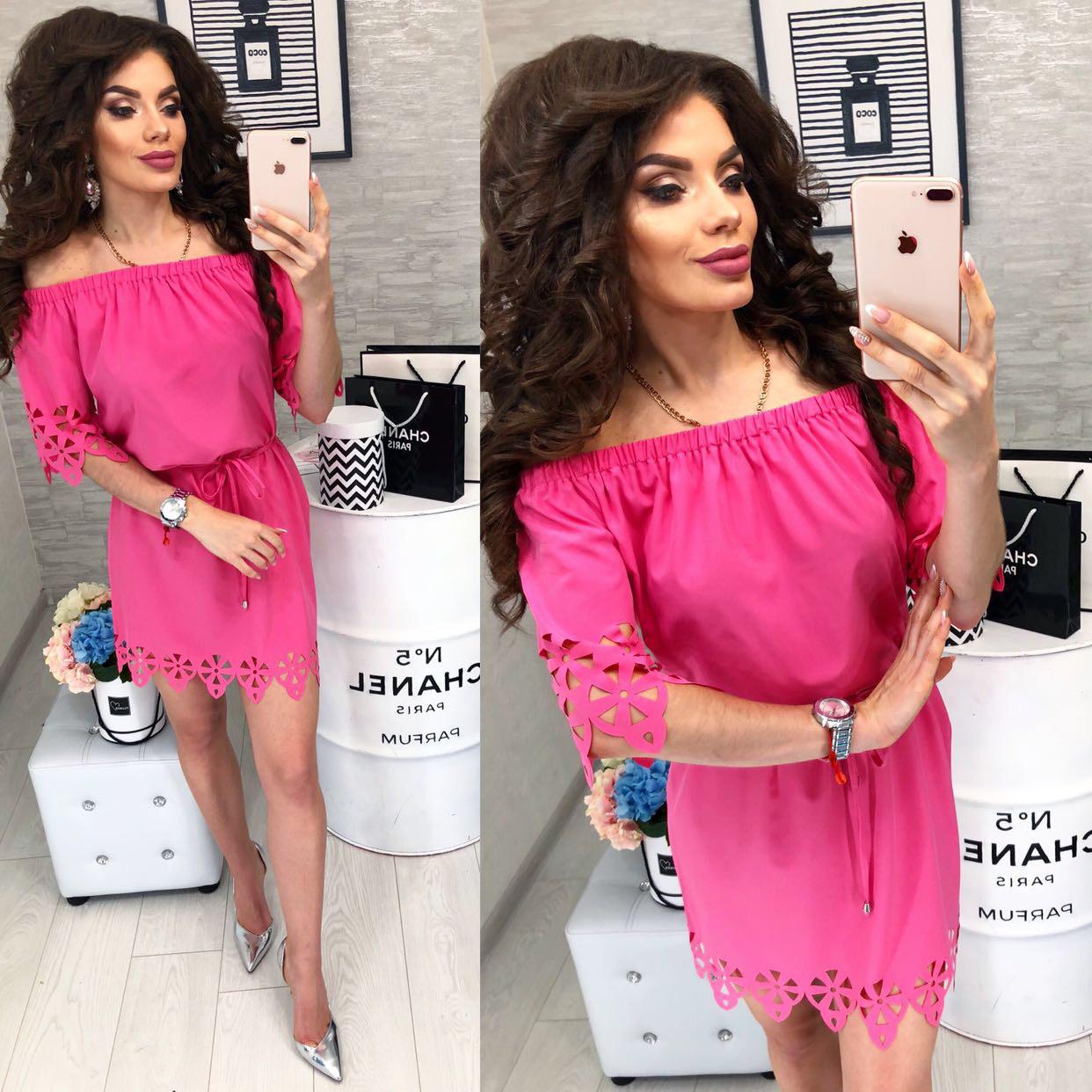 Платье с выбитым рисунком , модель 105, цвет Ярко-розовый