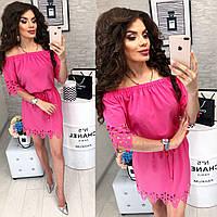 Платье с выбитым рисунком , модель 105, цвет Ярко-розовый, фото 1