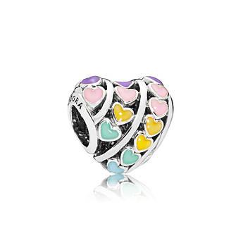 Серебряный шарм «Радуга сердец» в стиле Pandora
