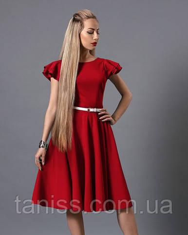 Оригинальное летнее платье из тонкой х/б ткани , с пояском, р.44,46 красный (522)
