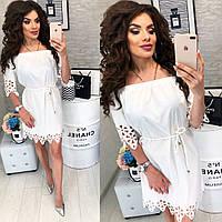 Платье с выбитым рисунком , модель 105, цвет Белый, фото 1