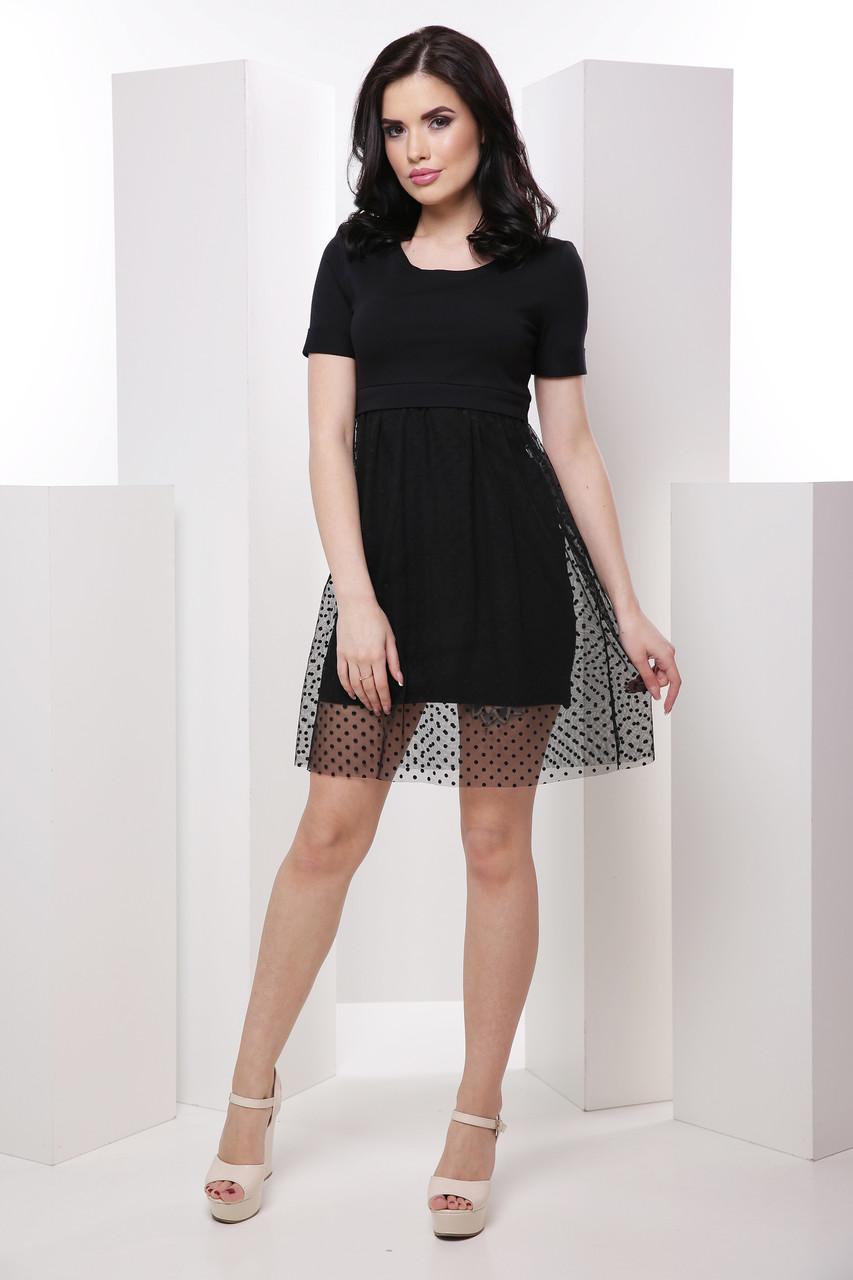 Молодёжное женское платье-футболка с юбкой-сеткой 7036/1, фото 1