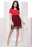 Молодёжное женское платье-футболка с юбкой-сеткой 7036/2, фото 1