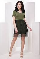 Молодёжное женское платье-футболка с юбкой-сеткой 7036/3, фото 1