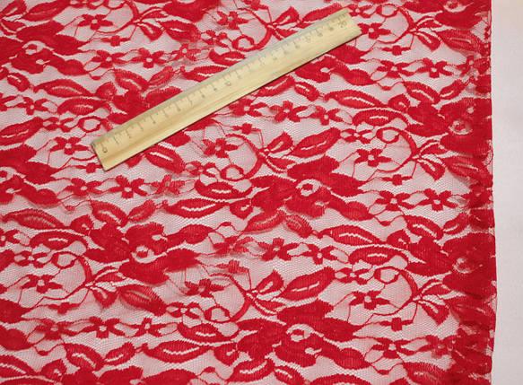Ткань гипюр стрейчевый цветы красный, фото 2