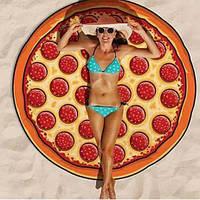 Круглый коврик Пицца, Pizza пляжный(подстилка, покрывало, полотенце, парео), 150 см