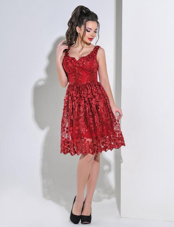0bccfd3a771 Платье вечернее короткое из 3-Д гипюра - Интернет-магазин стильной одежды и  обуви