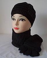 Комплект женская шапка, шарфик, перчатки, подлокотники