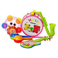 Музыкальные инструменты 2013C (96шт) барабан,гитара,марак,кастан,бубен,дудка,2цв,в кульке,18-26-9см