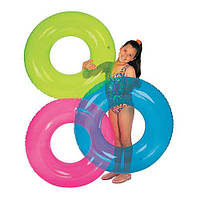 59260 Круг 76см прозрачный 3цв.,Круг для купания от 8 лет, Большой прозрачный круг плавательный, Надувной круг