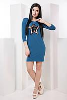 Яркое облегающее женское платье со звездой 7038/4, фото 1