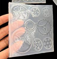 """Молд """"Стимпанк механизмы"""", 1 шт , для заливки 8 форм. Полупрозрачный платиновый  силикон"""