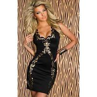 Платье вечернее черное с золотым принтом