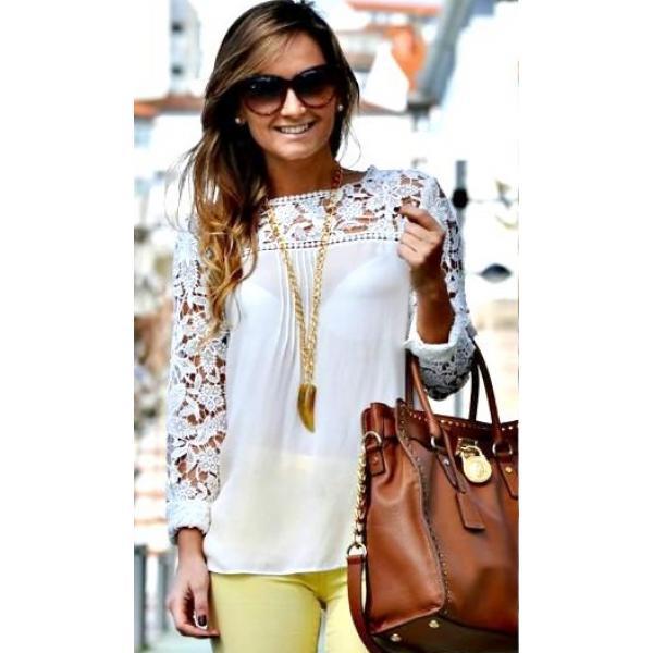 Блуза шифонова с кружевным рукавом, фото 1