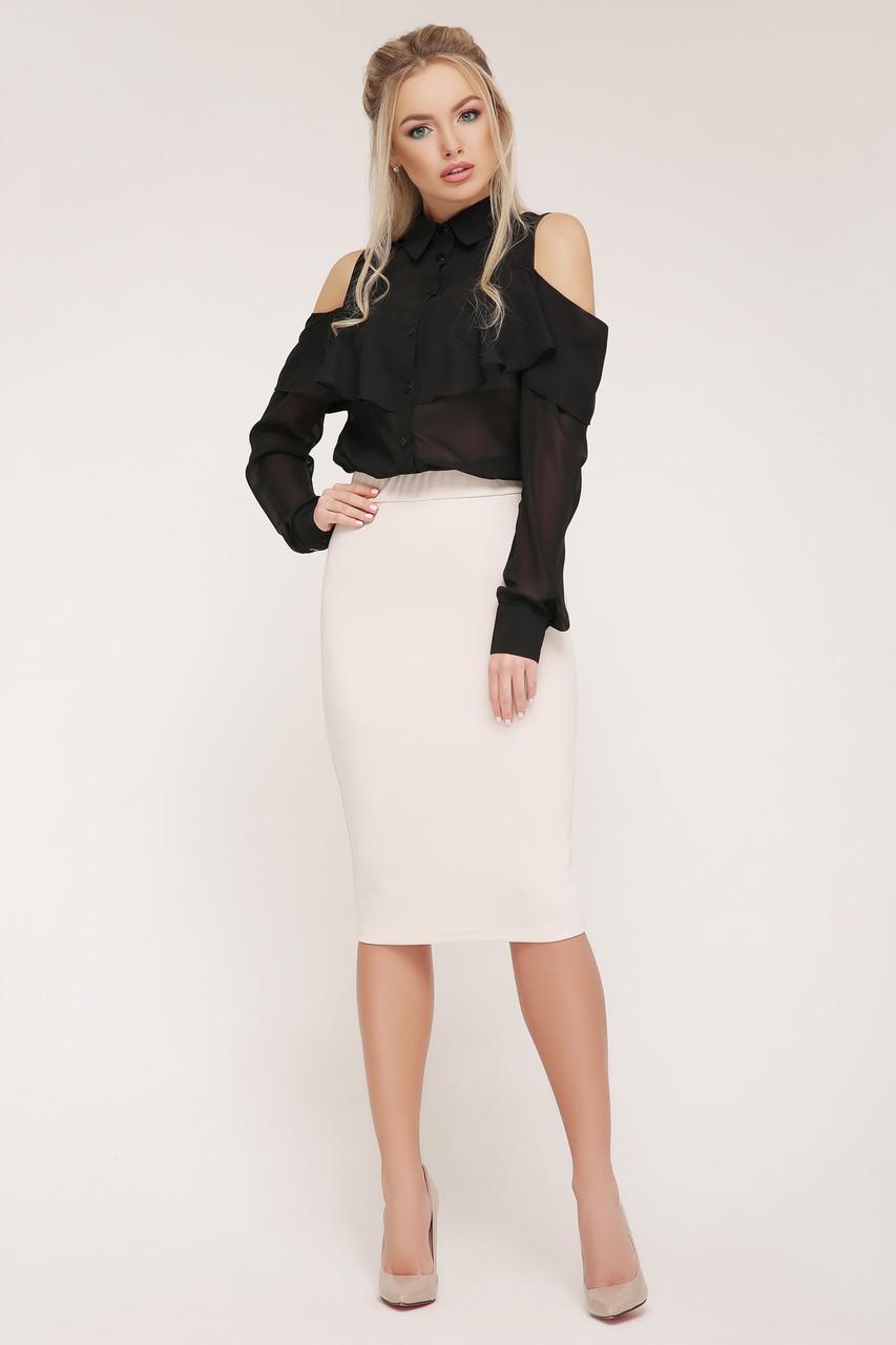 Женская прозрачная черная блузка Джанина д/р