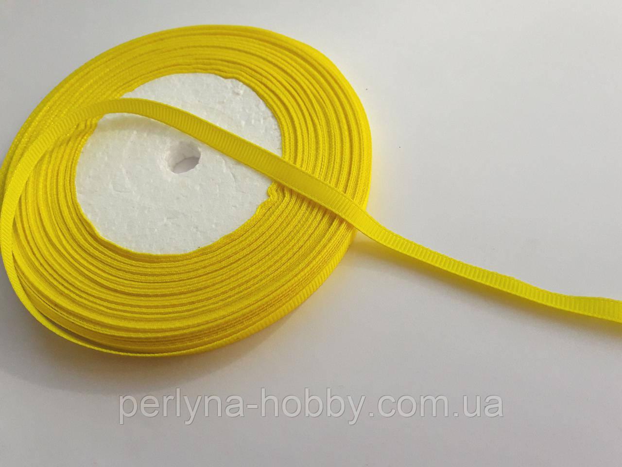 Стрічка репсова 6мм ( 22 метри в рулоні) жовта