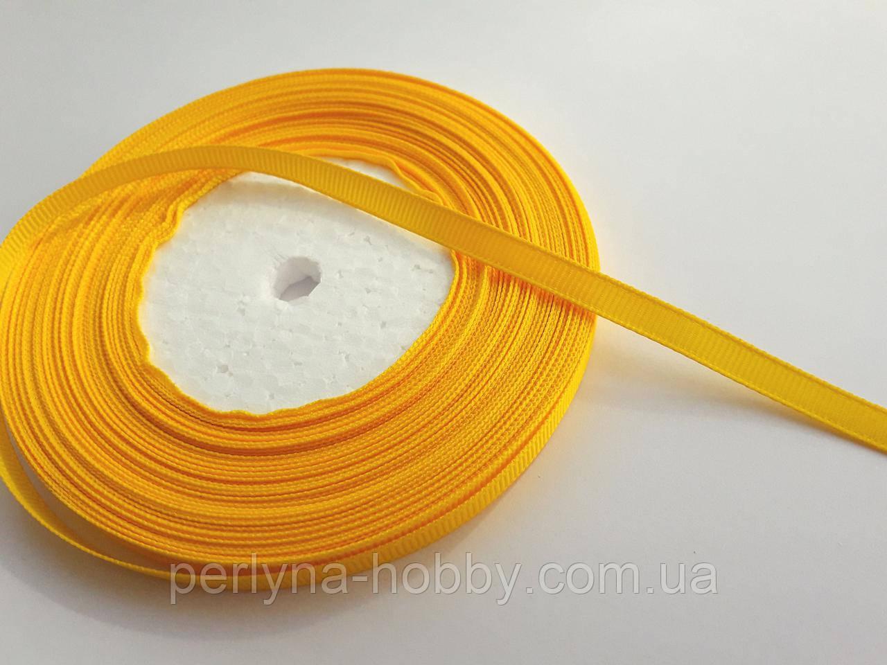Стрічка репсова 6мм ( 22 метри в рулоні) жовто-гаряча