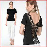 Черная женская футболка с кружевом , фото 1