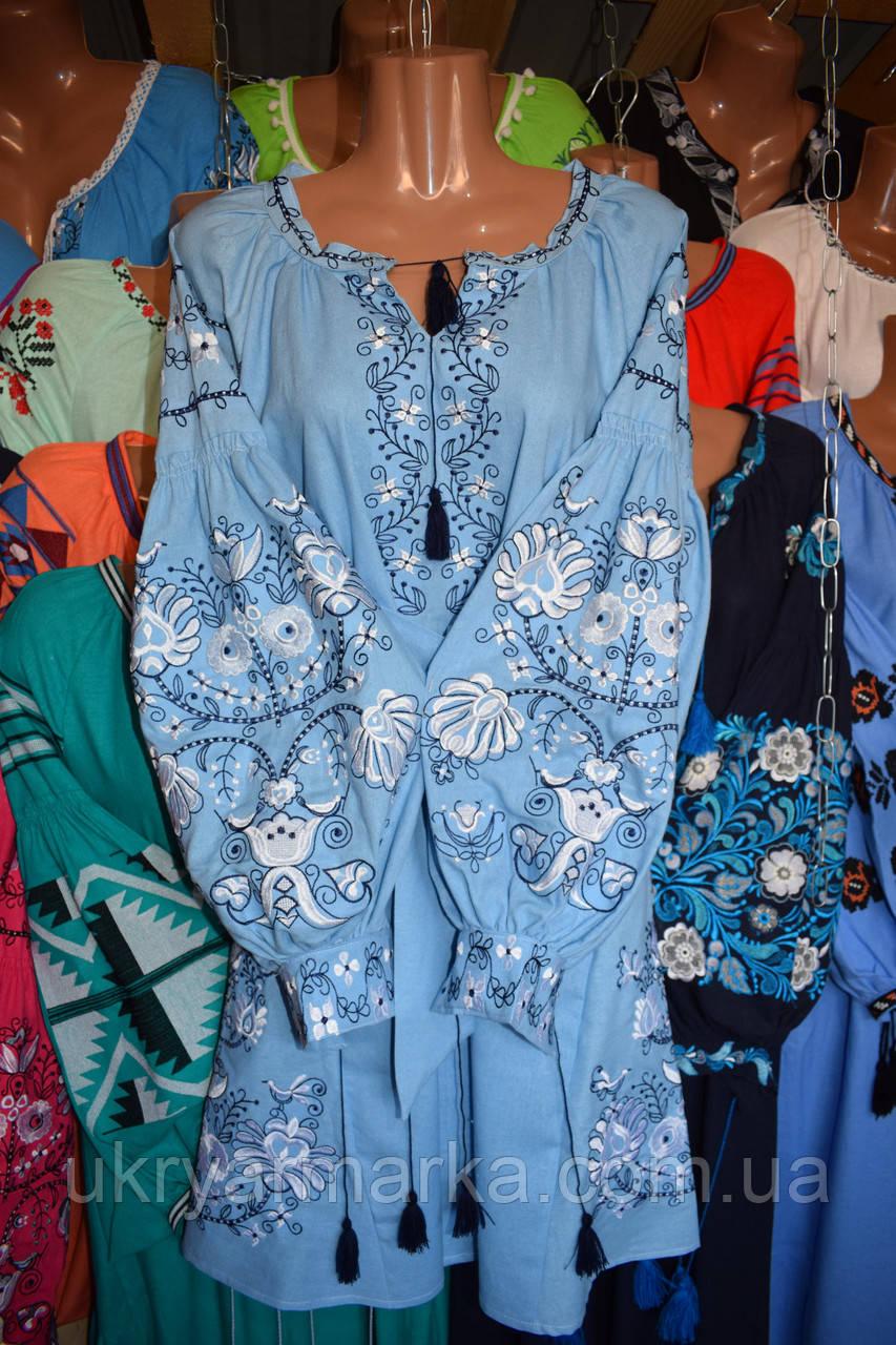 """Плаття вишите """"Грація"""" голубе"""