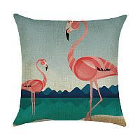 Подушка декоративная Фламинго на озере 45 х 45 см Berni
