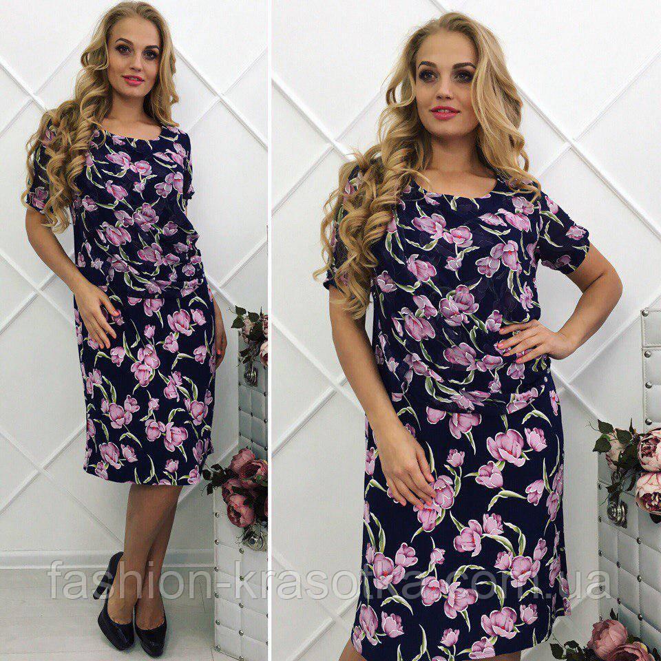 Женское легкое летнее платье увеличенных размеров 54-60