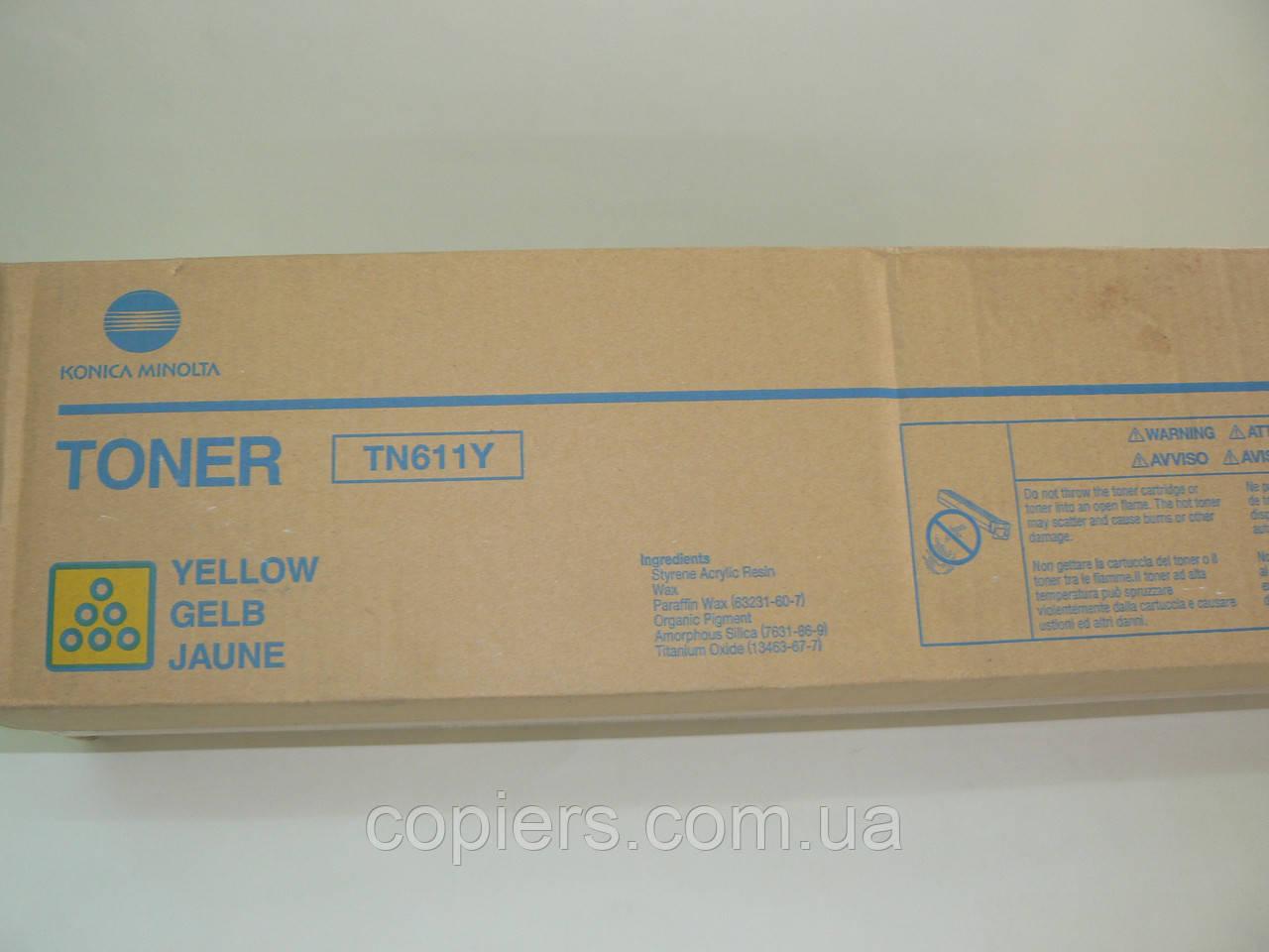 Toner TN611 Y bizhub C451, C550, C650, 27t, 460g, оригинал Konica Minolta