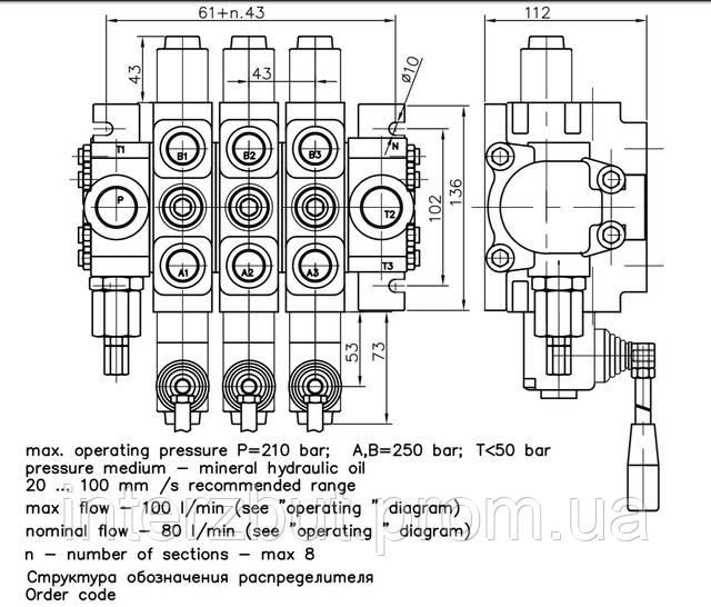 Гидрораспределитель 4 секции РC100 литров Badestnost