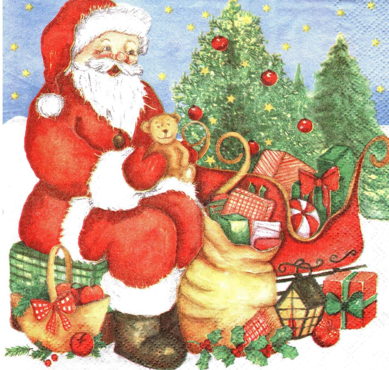 Декупажний серветка Санта завантажує санки подарунками 3877