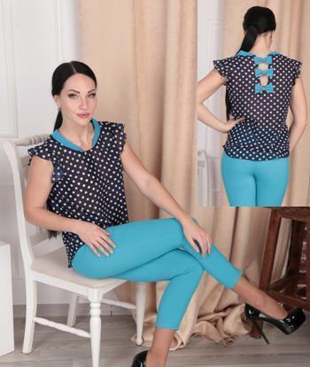 Женский костюм укорочненые брюки и блузка в горох 42- 48