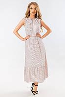 Бежевое платье в горошек с длинной юбкой, фото 1
