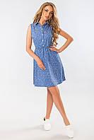 Голубое платье-рубашка с узором, фото 1
