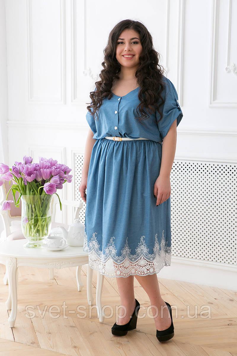 671b2e8a1bb Джинсовое Платье с Кружевом ДАНЕЛИ (56-62) Голубой Р.58 — в ...