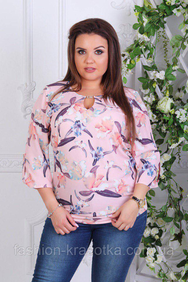 Нарядная батальная женская блуза в размерах 58-62